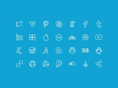 outline social media icons